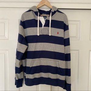 Polo by Ralph Lauren Hoodie Blue & Gray Stripes XL